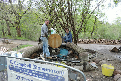 Our stonemasons at work on the seat