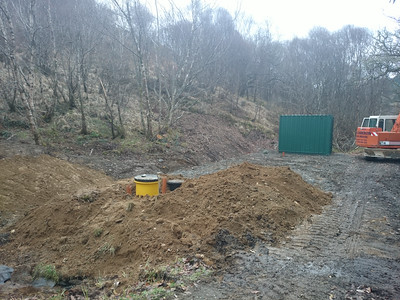The site leveled and the septic tank installed