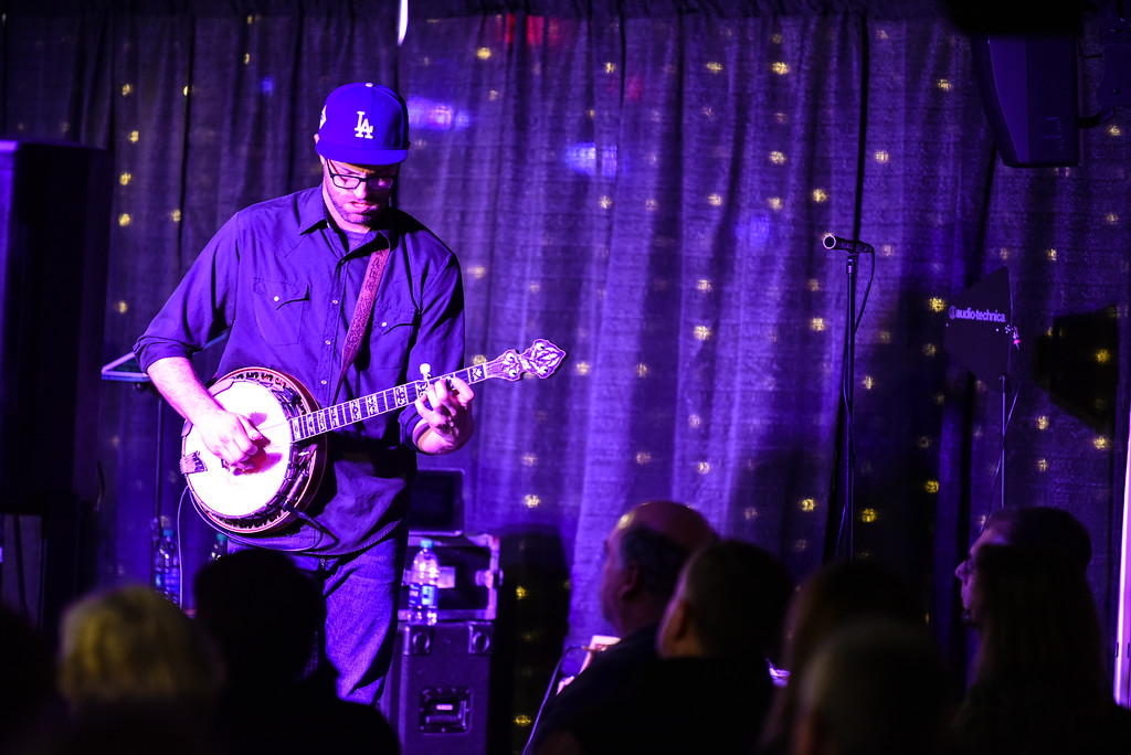 . (02/10/18 FITCHBURG  MA) Matk Cassidy of The Hillbenders strums the banjo in Saturday night\'s sold out show at Fitchburg State University.  SENTINEL & ENTERPRISE JEFF PORTER