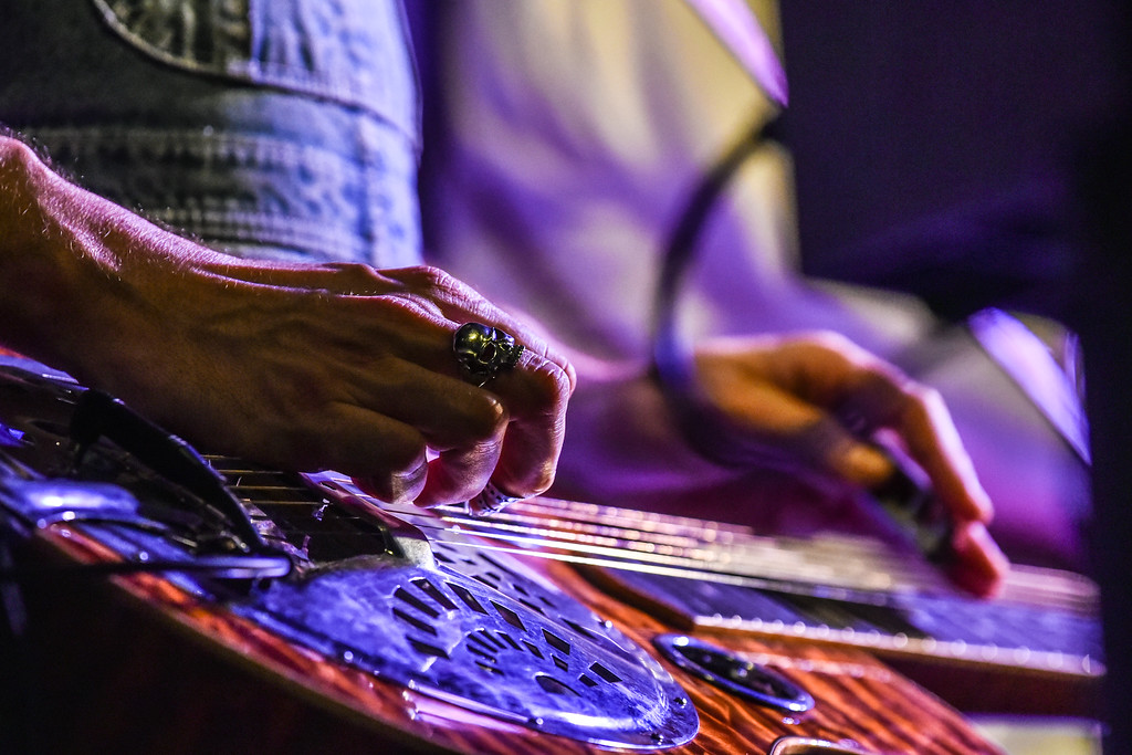 . (02/10/18 FITCHBURG  MA) The hands of  The Hillbenders Chad Graves plucking the dobro in Saturday night\'s sold out show at Fitchburg State.  SENTINEL & ENTERPRISE JEFF PORTER
