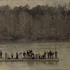 This circa 1900 photo shows a ferry crossing the Catawba River. Notice the wagon and men with rifles. Horses would be at each end of the ferry ride to move the wagon. The men were always on alert for any potential threats while traveling the river.