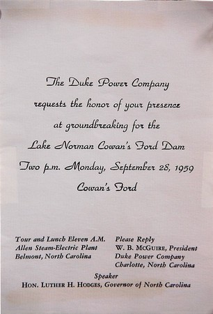 Duke Power held the groundbreaking ceremony for Lake Norman Cowan's Ford dam in 1959.