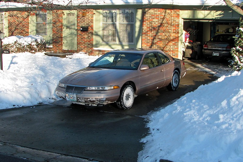 A Lincoln Mark VIII is definitely not a vehicle for driving in the snow.  But it did ok around the immediate vicinity of my house.