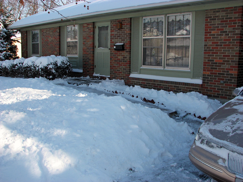 I started at the garage and shoveled out to my car, and also took care of the front walk.