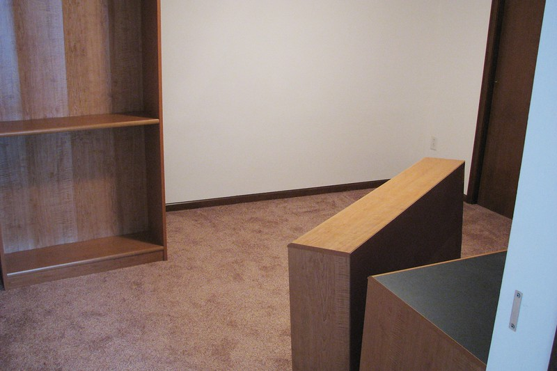 All that remained were the large items such as book cases and desks.