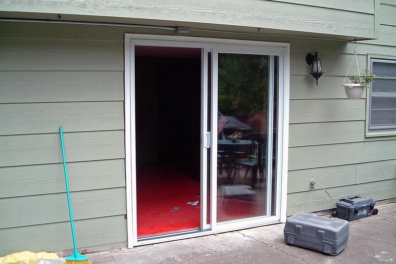 New vinyl trim around the new door.