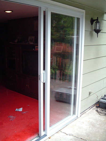 Testing the sliding door with the stops in place.