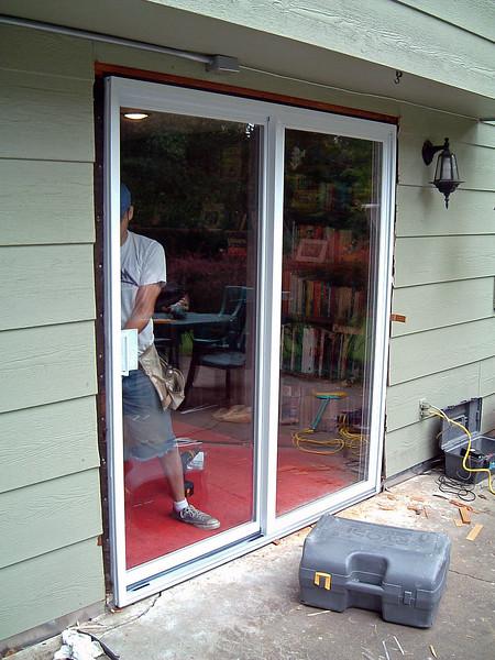 Testing the sliding half of the door.