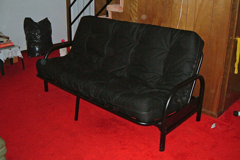 Like all futons, this one will double as a couch when not being used as a bed.