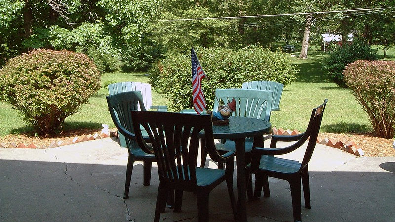 Patio furniture was something we didn't bring with us from Pennsylvania.  A small plastic furniture set from nearby Home Depot works fine for us.