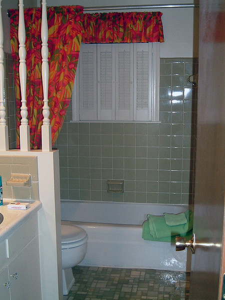 The master bathroom sits across the hall from the master bedroom.