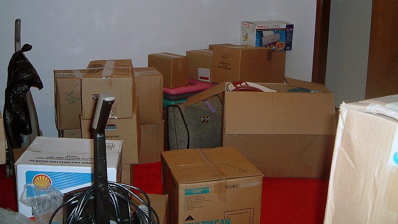A number of the basement boxes were stuffed into the bonus room at the bottom of the stairs.