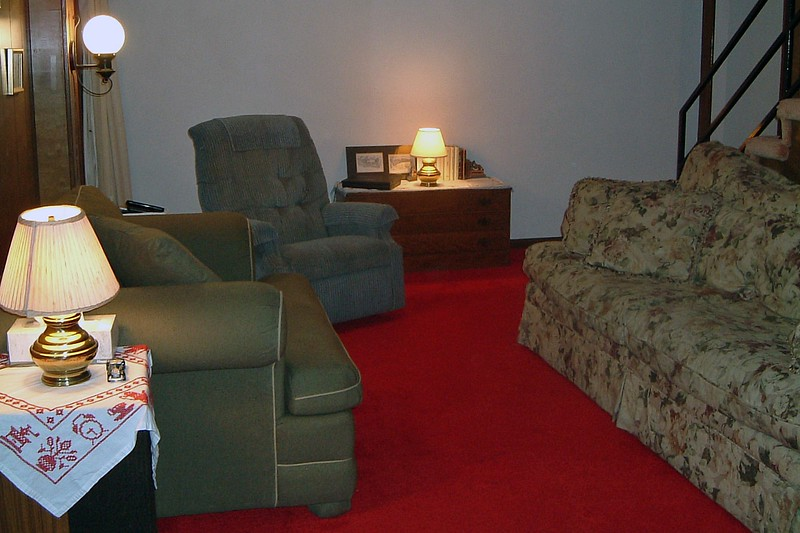 The narrow end of the basement works well for the couch and chairs.