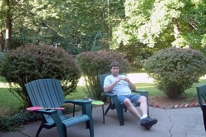 Relaxing on the back patio.