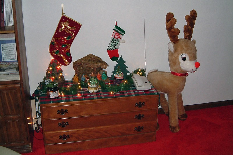 The festive atmosphere extended to other parts of the house as well.  Rudolph made an appearance in the basement.