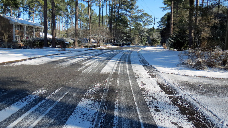 The roads are clear wherever the sun is shining.  But the shadows can be a little icy.