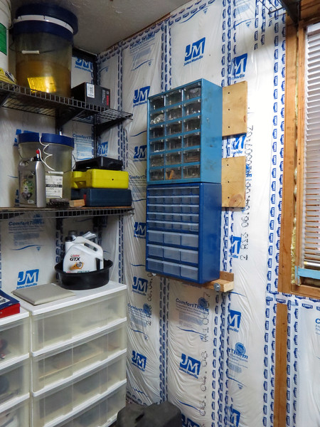 February 1, 2014:  The third part of this project was to mount my parts storage bins to the wall of my utility room where the Craftsman tool box used to be.  The upper storage bin is probably 25 years old, but the lower bin is new.