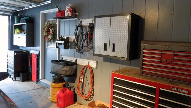 New wall cabinet in the garage.