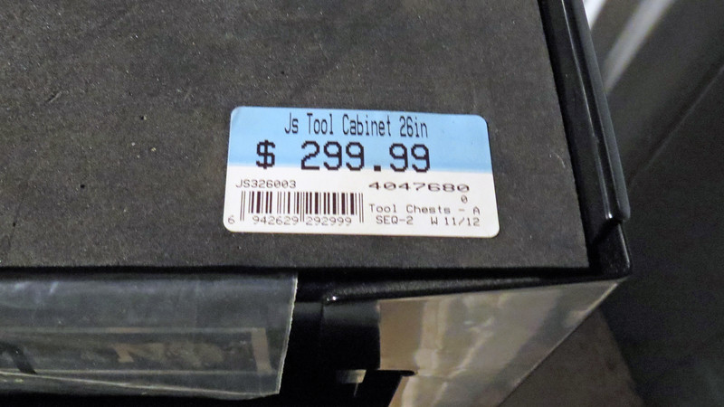 """This Masterhand roll cart followed that same pattern.  Sticky-taped to the top of the box was that magic word """"Clearance.""""  This also happened to be the only one remaining.  The retail price on this roll cab was $330.  It had been marked down once previously to $300."""