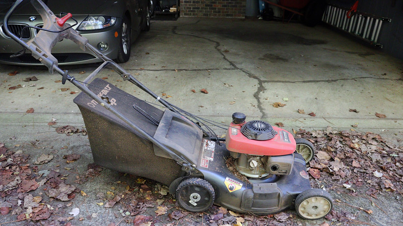 I got my Troy-Bilt lawn mower not too long after I moved to Georgia.  The Honda engine has provided flawless reliable service for almost a decade.  Unfortunately, the rest of the mower is another story.  Small issues seemed to be a regular occurrence.  <br /> <br /> I've replaced the drive cables twice.  The seams on the bag were beginning to separate.  The original back wheels disintegrated a few years ago.  The cogs on the replacement wheels wouldn't stay in place, (hence the large washers and nuts/bolts seen in the photo above).  This means the power drive works, but not very well.
