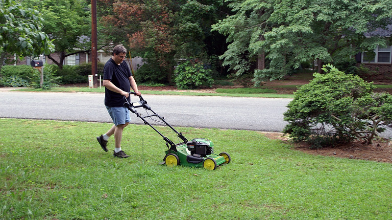 On this day, I headed to Lowe's and picked up a John Deere push mower and immediately put it to good use.