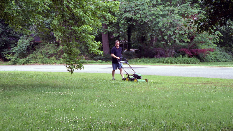 When we moved from Columbia, Missouri, one of the items we didn't bring with us was our old lawnmower.  We knew we would temporarily be moving into an apartment until we found a house.  Since we wouldn't be needing a mower right away, we gave it to someone who needed one before we left.  One less item to move that way.