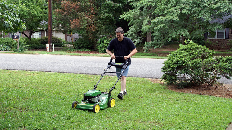 This was my first time cutting the grass at our new home.