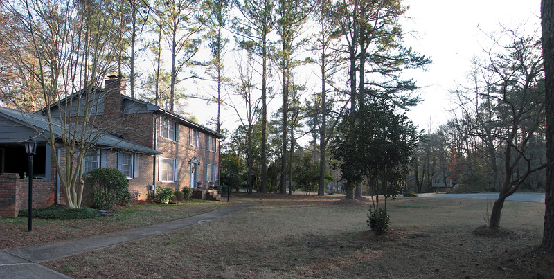 Three-picture front yard panorama.