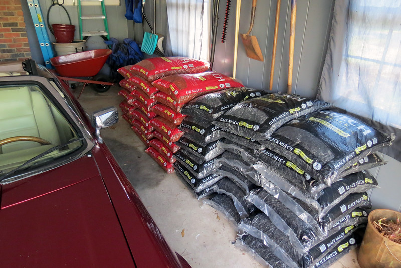 Lowe's Premium mulch was on sale this weekend, 4-for-$10.