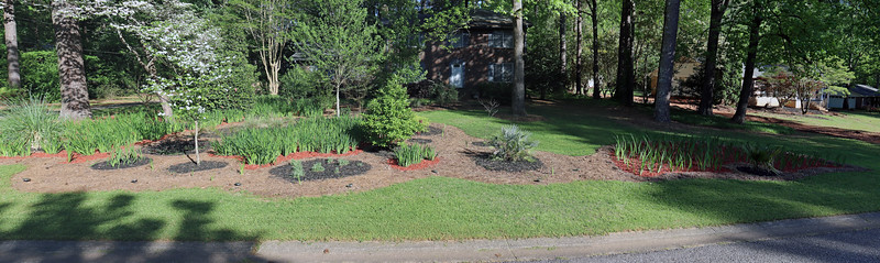Three-picture panorama of the front yard.