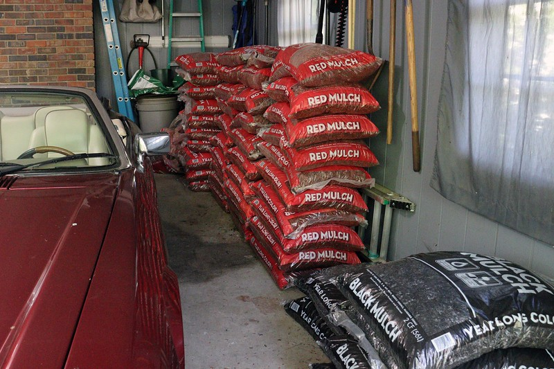 Walmart still had mulch on sale throughout this week.  Five trips later, I had the 40 bags of red mulch I needed to complete the project.