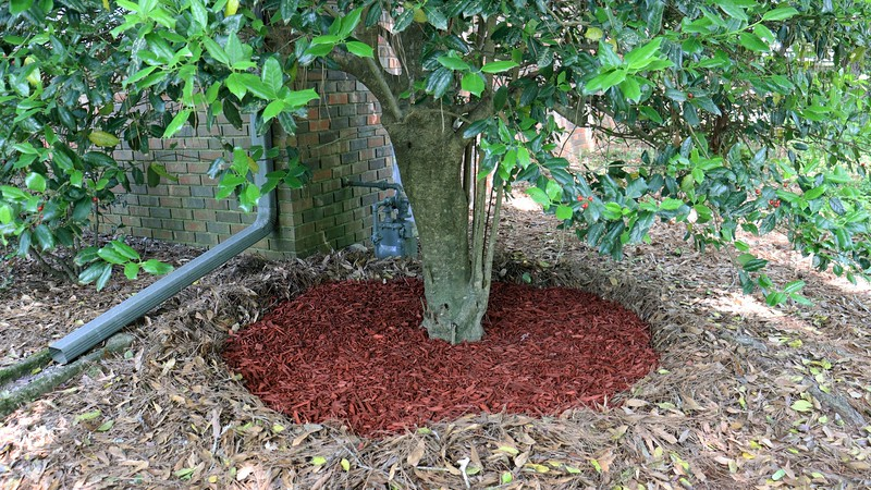 Even though the red mulch doesn't fit with the rest of the pattern, I think it looks fine.