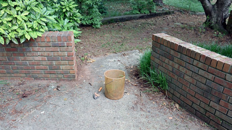 I started to do some more work on my ongoing weeding project this afternoon.  Today, I wanted to get rid of the border grass that had spread beyond its original location behind the brick walls at the back of my driveway seen in the photo above.  A good amount had started to grow through the cracks between the driveway and the bricks.  I grabbed my gloves, trowel, and bucket and started digging.