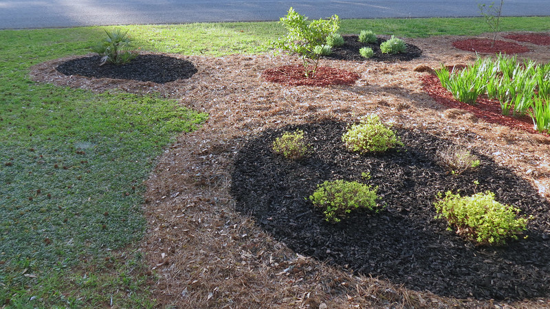 The plan for today was to finish spreading new mulch.  Three areas remained after last weekend, all of which would get black mulch.  I made another run to Lowe's and started spreading.
