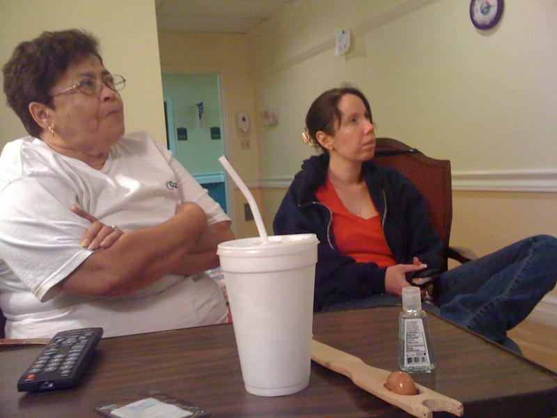 Michele and mom watching a Novela