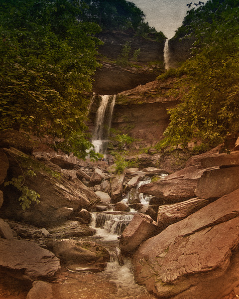 Catskill Landscapes: Kaaterskill Falls. Catskill Mountains, Ulster County, Hudson River Valley,  The Rip Van Winkle Trail, outside Palenville, New York