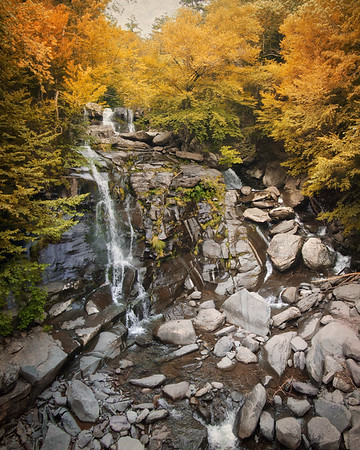 Catskill Landscapes: Bastion Falls in Autumn. Catskill Mountains, Ulster County, Hudson River Valley,  The Rip Van Winkle Trail, outside Palenville, New York