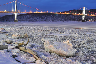 """Bridge Over Icy Waters"" – the Hudson River at Poughkeepsie, looking west-southwest toward the Mid-Hudson Bridge on a relatively mild evening in February 2013."
