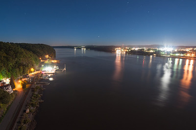 """Hudson in the Dark"" – bright moonlight reveals daytime-like features along the banks of the Hudson River, seen from the Walkway at night."