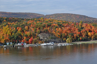 """Highland Hues"" – fall foliage color nears its peak along the western bank of the Hudson River at Highland, NY, as seen from the Walkway Over the Hudson."
