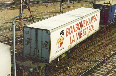 Haribo liveried reefer swapbody at Willesden Jcn - 1990s image