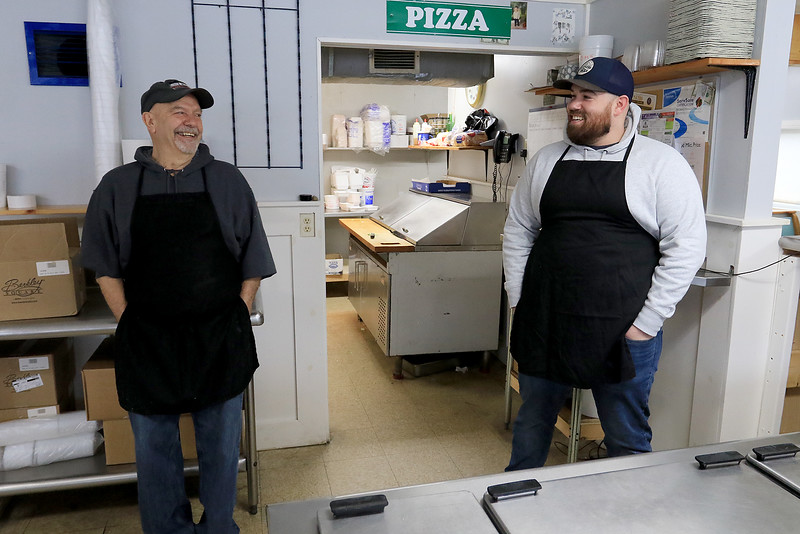 Ice Cream Factory in Townsend is one of the local seasonal eateries in the North Central MA region. Owner Paul Panagiotes, on right, and his uncle Tom Panagiotes talk about now being open this year. On Friday, March 22, 2019 was their second day open this year. SENTINEL & ENTERPRISE/JOHN LOVE