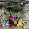 Colorful Tarahumara Ladies Buying Fabric For New Traditional Garments