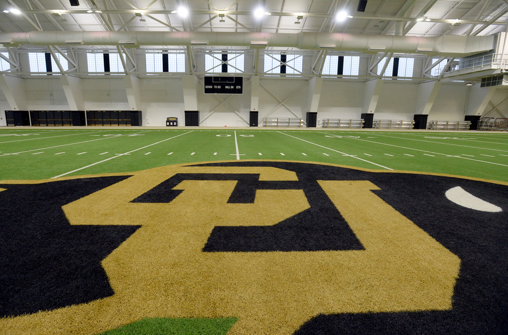 . The center of the football field inside the IPF. The athletic facilities at the University of Colorado are nationally recognized for sustainability, such as the Indoor Practice Facility (IPF).  Cliff Grassmick  Photographer December 15, 2017