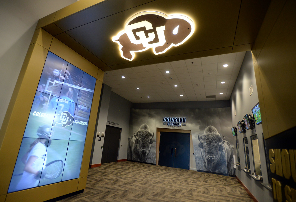 . One of the entrances to the ticket office and the IPF at CU. The athletic facilities at the University of Colorado are nationally recognized for sustainability, such as the Indoor Practice Facility (IPF).  Cliff Grassmick  Photographer December 15, 2017