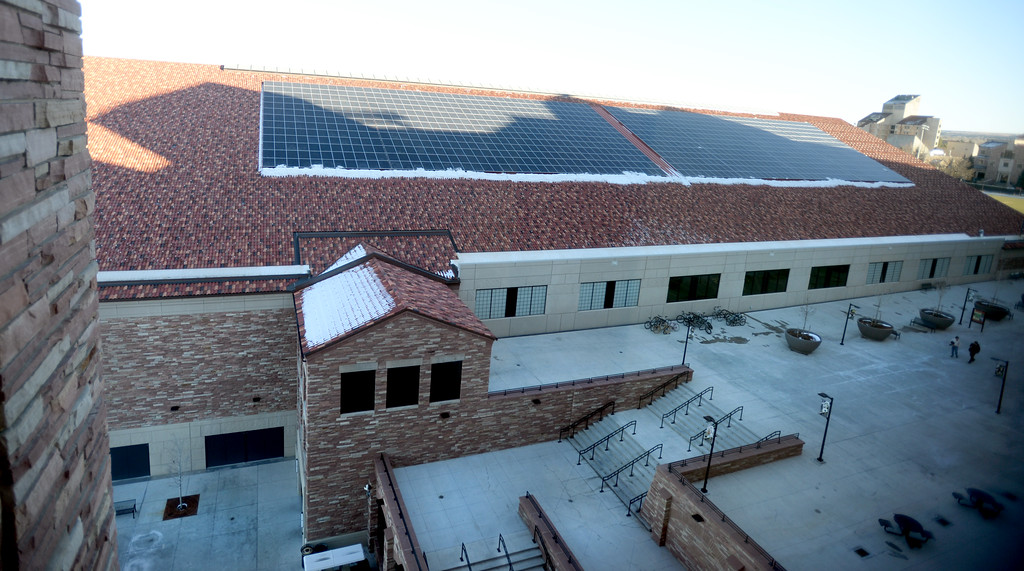 . The exterior of the IPF looking east. The athletic facilities at the University of Colorado are nationally recognized for sustainability, such as the Indoor Practice Facility (IPF).  Cliff Grassmick  Photographer December 15, 2017