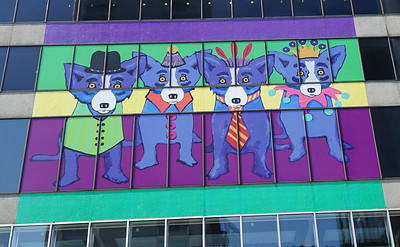 New Orleans, LA.   Blue Doggies overlooking Canal Street.