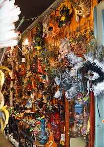 "New Orleans, LA.   The French Quarter.   One of the many shops selling masks.  Or ""masques"" as the Francophiles spell it."