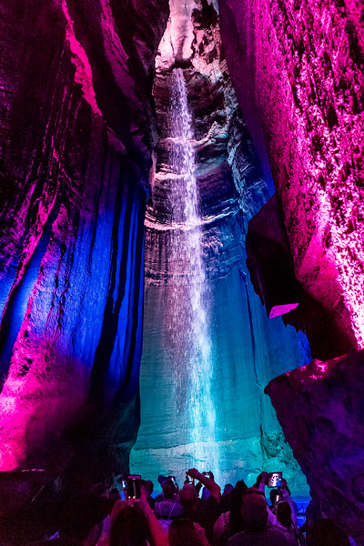 Ruby Falls, TN.  After a slow half-mile walk, we reach a towering chamber, and 150-foot-tall Ruby Falls (named after the discover's wife).  Cue the booming classical music!