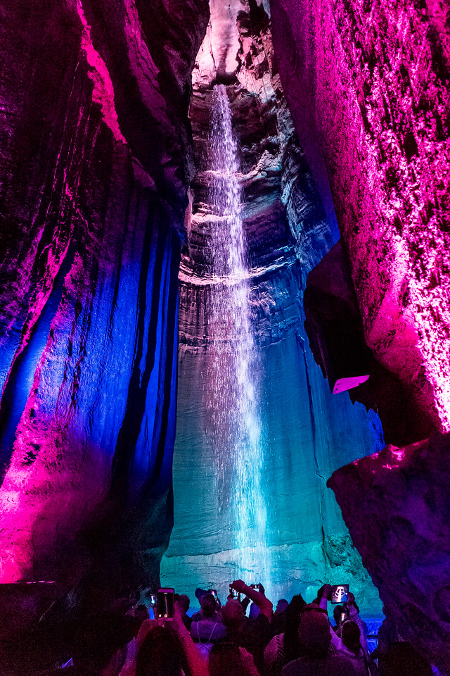 Ruby Falls, TN.  After a low half-mile walk, we reach a towering chamber, and 150-foot-tall Ruby Falls (named after the discover's wife).  Cue the booming classical music!
